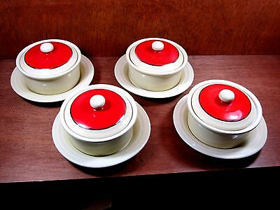Vintage (H.F. COORS) Coorsite Bowls and Plates Set of 4 Pottery Cream Red Orange