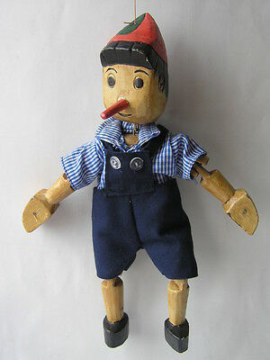 Vintage Unique Pinocchio Buratino Marionette Puppet Hand Carved Wooden Doll Toy
