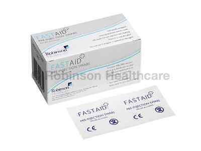 100 x FastAid 70% IPA Pre-Injection Swabs NHS GRADE First Aid Tattoo FREE P&P