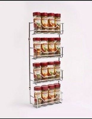 4 Tier Chrome Spice Rack Holder To Suit Masterfood Spice Bottles - 16 Bottles