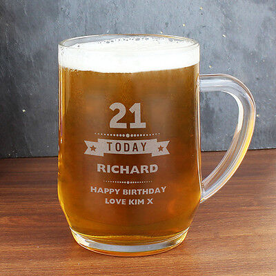 Personalised Tankard Beer Glass 18th 21st ( any age ) Birthday Gift for Him - UK