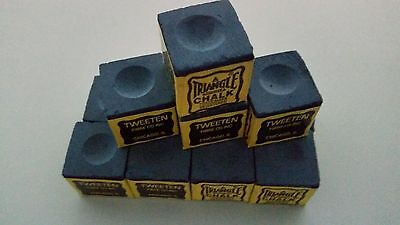 12 Pieces BLUE Genuine Triangle Snooker or Pool Cue Tip Chalk - by Tweeten USA