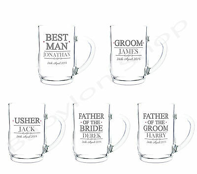 Personalised Wedding Role Beer Tankard Glasses - Thank You Favour Gifts