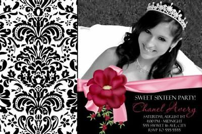 Sweet 16 Sixteen Quinceanera Birthday Party Invitation Photo Damask Polka Dots