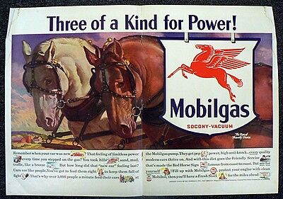 1940 Mobiloil Mobilgas Center Page Ad Three Of A Kind