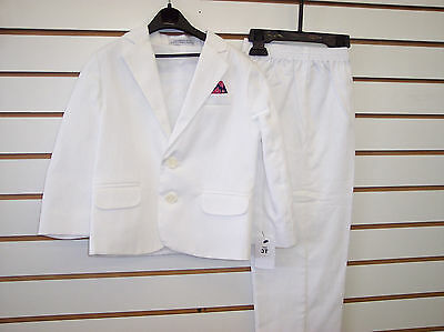 Infant, Toddler and Boys White 2 pc Suit  Sizes 12 Month - 7