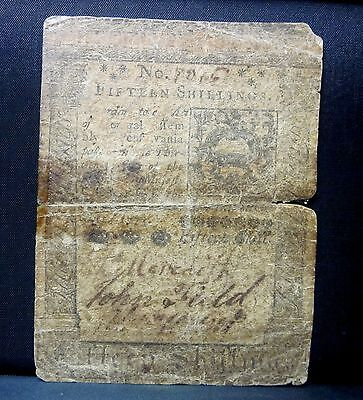 Colonial Currency ✪ Pennsylvania October 1St 1773 ✪ Fr Pa-168 15S ◢Trusted◣