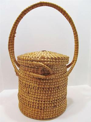 Vintage Charleston SC Gullah Sweetgrass Woven Storage Basket with Attached Lid