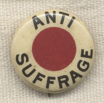 Rare Vintage 1910's - 20's Anti-Suffrage Celluloid Pin