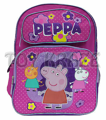 "Peppa Pig & Friends Backpack! Pink Polka Dot Large School Bag Tote 16"" Nwt"