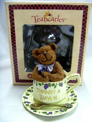 NIB! 2003 Boyd's TEABEARIES BEAR Figure in Tea Cup THANKS A BUNCH Hand Painted
