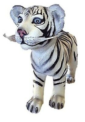 Tiger Statue White LIFE SIZE Statue Tiger Cub Standing Prop Garden Display