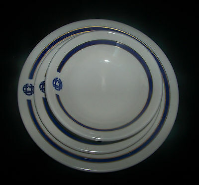 Homer Laughlin UCC White/Gold/Blue Salad Plate/Saucer/Bowl Lot/3
