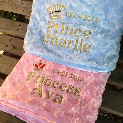 Super Cute Pink / Blue Prince Princess Baby Embroidered Personalised Blanket
