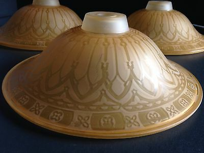 Vintage 3 Art Deco Amber Orange Frosted Glass Ceiling Light Fixture Shades