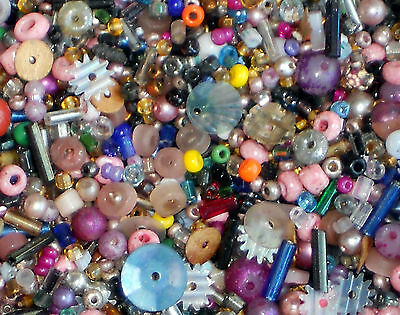 #742 Vintage Beads Assemblage Lot Glass Huge 2oz Sequins Bugle Seed Micro Pinks