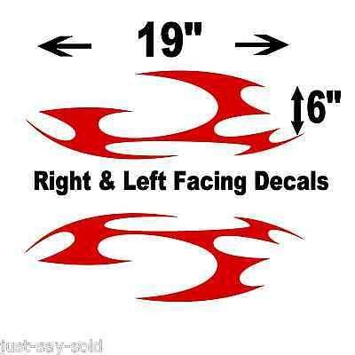 "Tribal Motorcycle / Car Vinyl Decals Stickers Set of 2 19"" x 6"" - Select Color"