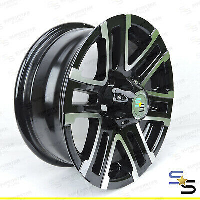 14x6 STALLION BLACK MACHINE FACE to suite FORD STUD PATTERN ALLOY WHEEL TRAILER