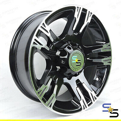 "15x7 ""HERO"" BLACK MACHINE FACE 6 STUD LANDCRUISER ALLOY WHEEL TRAILER CARAVAN"