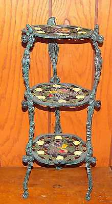 Cast Iron 3 Tier Plant Stand Table Green Tuscan Grape Design