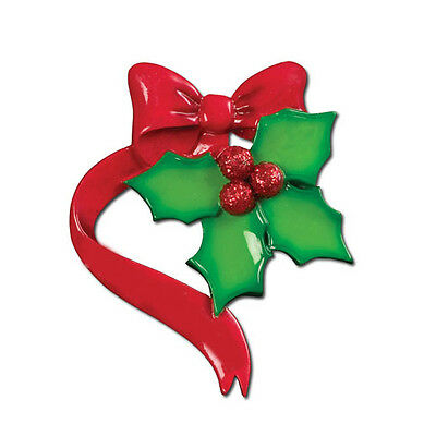 Holly Leaves Family of 4 Personalized Christmas Tree Ornament