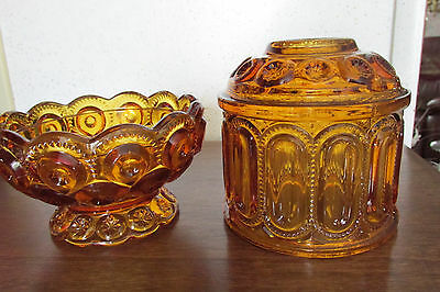 """VINTAGE L.E. Smith """"moon and stars"""" two piece Fairy light Amber Candle holder"""