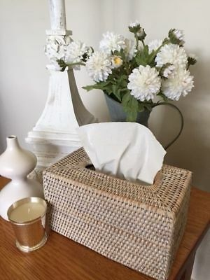 White Wash Rattan Cane Woven Tissue Box Cover Holder Rectangle