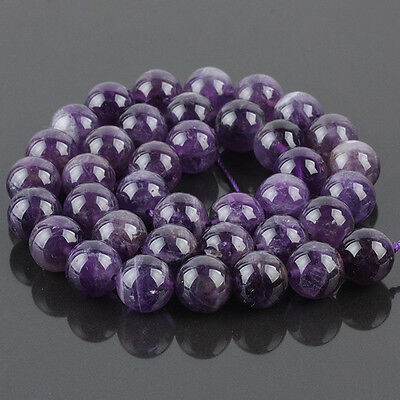 Natural Purple Amethyst Quartz Crystal Gemstone Round Ball Loose Beads 15 inches