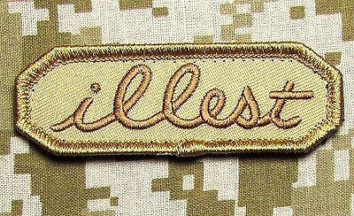 ILLEST TAB US ARMY USA MILITARY ILL ISAF TACTICAL VELCRO DESERT MORALE PATCH