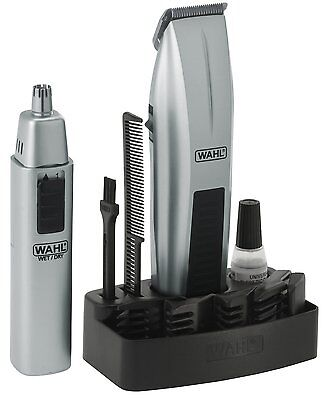 Wahl Cordless Battery Beard Mustache Nose Trimmer Hair Shaver Clipper Silver
