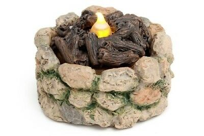 Miniature Dollhouse FAIRY GARDEN - Cobblestone Light-Up Firepit - Accessories