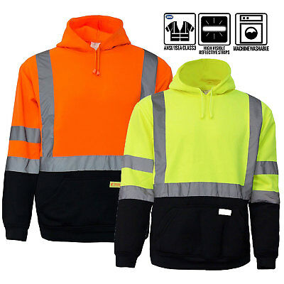High Visibility Hooded Sweatshirt Class 3 Safety Hoodie, orange/Lime -H8311/12