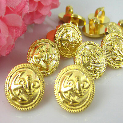 "100Pcs 1/2"" Gold Tone Anchor Pattern Plastic Cabochon Buttons 13.0mm Buttons"