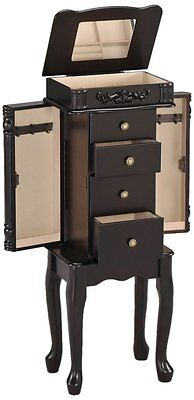 Antique Espresso Finish Jewelry Armoire Lingerie Chest Cabinet Box Storage -Set