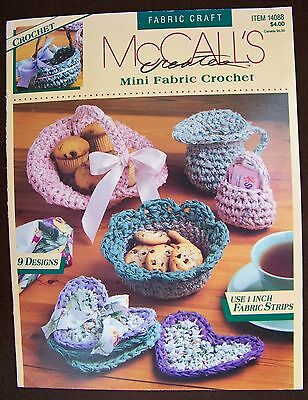 "McCall's Creates Mini Fabric Crochet Craft 9 Designs Use 1"" inch Fabric Strips"