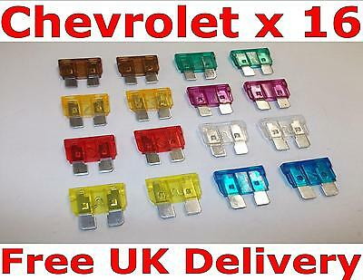 Chevrolet Standard Blade Fuses x 16 Mixed Fuse Box Kit 3 5 7.5 10 15 20 25 30A