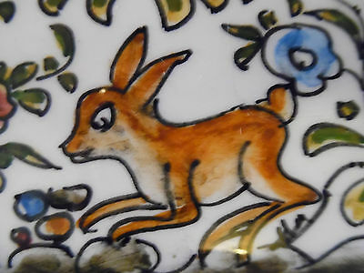 Hand Painted Portuguese Art Pottery Octagon Plate Rabbits