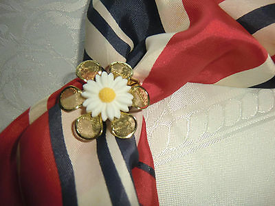 Scarf Clip, Pin, Metal,gold And Sunflower  , Handmade