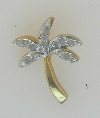 Lovely Palm Tree Pendant in Solid Yellow 10kt Gold 15 Genuine Diamonds