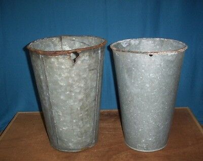 2 OLD GALVANIZED Sap Buckets Maple Syrup BUCKET FLOWERS DECOR
