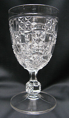 1890 EAPG Pattern GLass Log and Star, Milton, Cut Block and Daisy Water Goblet