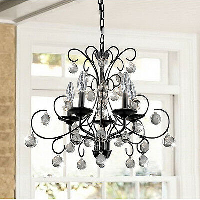 (B713-BW-329) Messina 5-light Wrought Iron and Crystal Chandelier