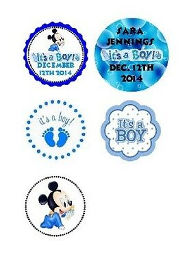 108 Disney Baby Boy Mickey Mouse Shower Hershey Kiss Labels Stickers Personalize