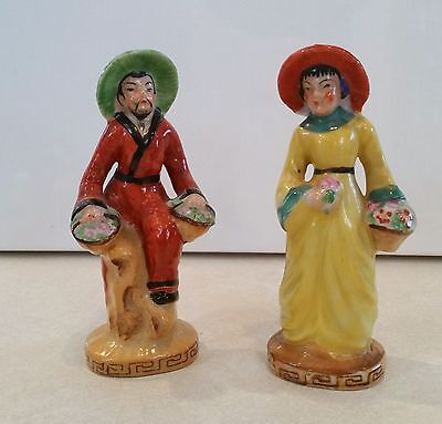 """Vtg Pair Oriental Man & Woman Figurines Made in Occupied Japan Hand Painted 6 """""""