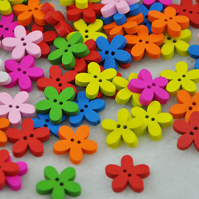 Free Shipping 10/50/100pcs Mixed Flower Pattern Painting Wood Buttons