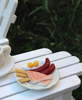Miniature Dollhouse FAIRY GARDEN Accessories ~ Plate with Breakfast Food ~ NEW