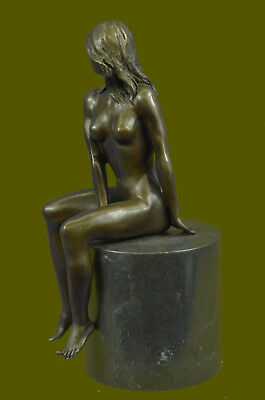 Beautiful Signed Art Nouveau Gilt Bronze Sculpture Figure Statue Naked Nude Girl