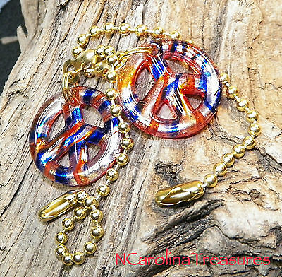 Ceiling Fan Pull Murano Glass Red Blue Gold Peace Symbol Striped Small Pair