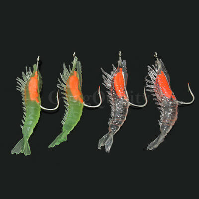 4pcs Shrimp Squid Flashing LED Light Squid Jig Fishing Lure Prawn Tackle Hooks