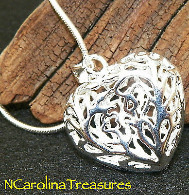 Stunning 925 Sterling Silver Necklace Ornate Hollow Puffed Heart 20 Inch Chain